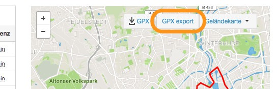GPX export Browsererweiterung